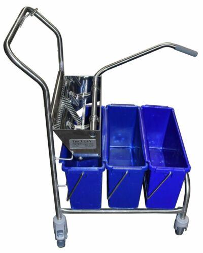 TruCLEAN Pro 22-3 Triple-Bucket Mopping System - Cart, Wringer, & (3) 15L Bucket