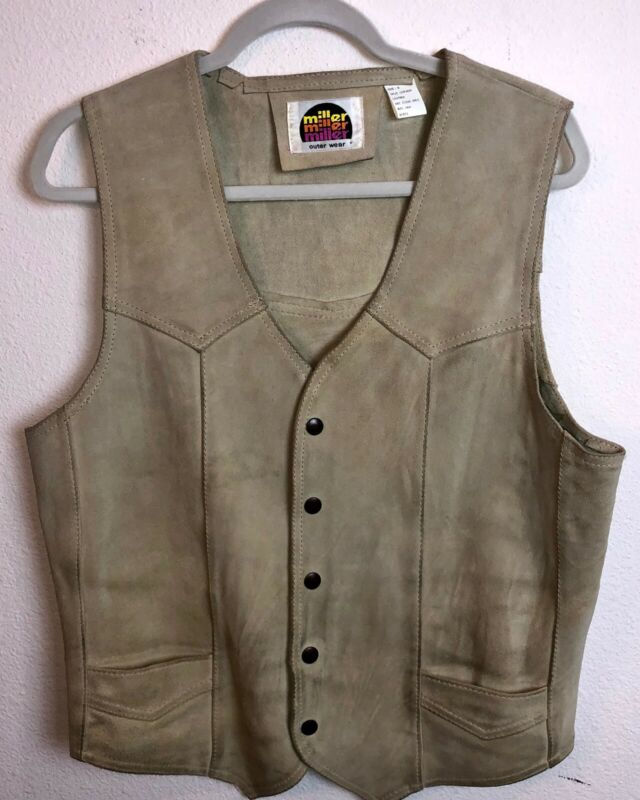 Vintage Miller Cream Suede Leather Button Front Western Vest Men's Medium