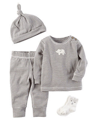 Carters Newborn 3 6 9 12 Months 4-Piece Gift Set Baby Boy Clothes Hat Socks Tee