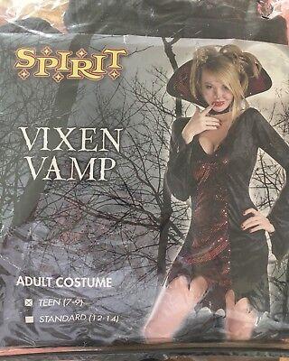 Vampiress Halloween Costume Teen Sz 7-10 Red & Black Vampire Vixen Vamp! - Teen Vampire Costume