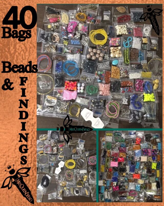 40 Bags Jewelry Making Supplies FINDINGS & BEADS Pendants Wire Closures Lot 👑🐝
