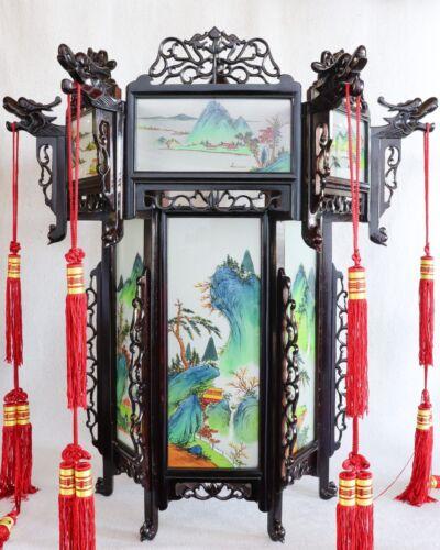 Large Vintage Chinese Cantonese Painted Glass Landscape Rosewood Palace Lantern