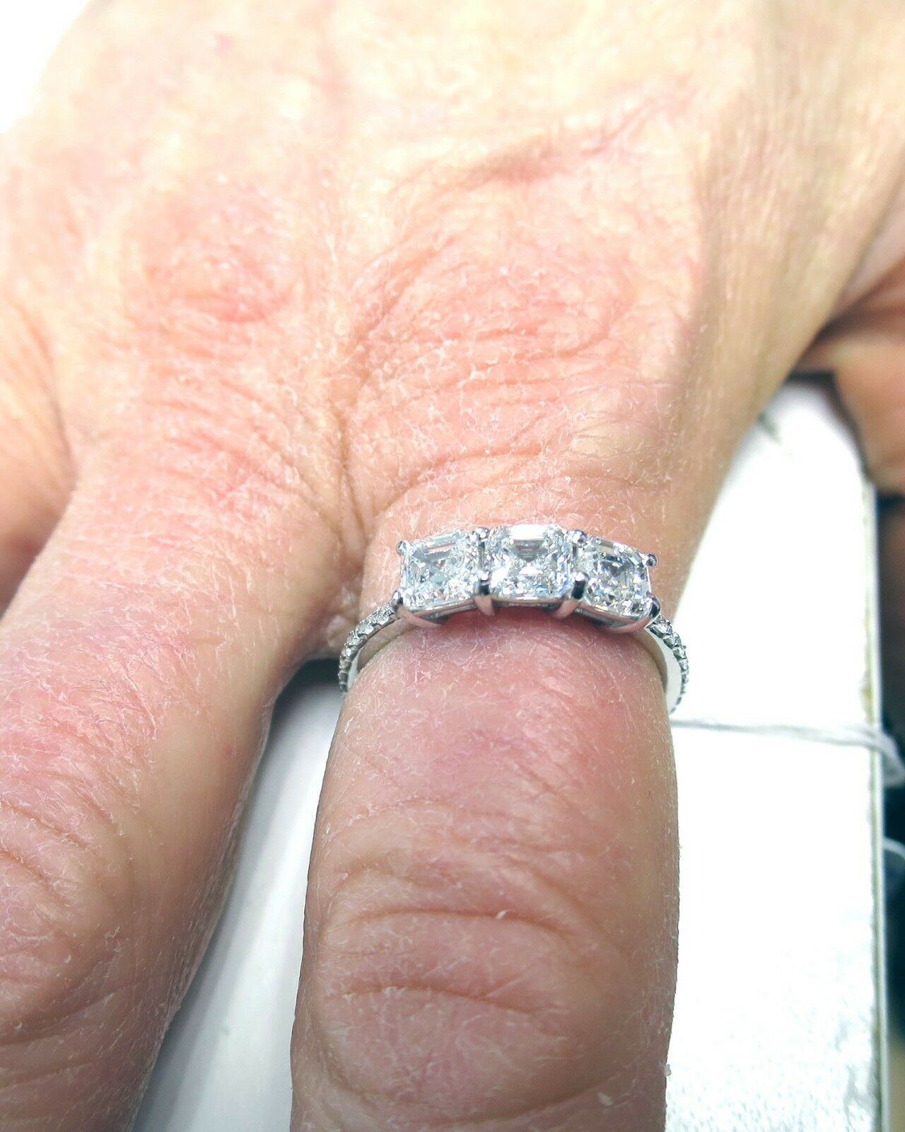 GIA E VS1 2 carat, 3 Asscher cut Diamonds 14k white gold Ring Band #115 8