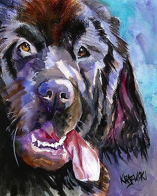 Newfoundland Dog art Print Signed by Artist Ron Krajewski Painting 8x10 newfie