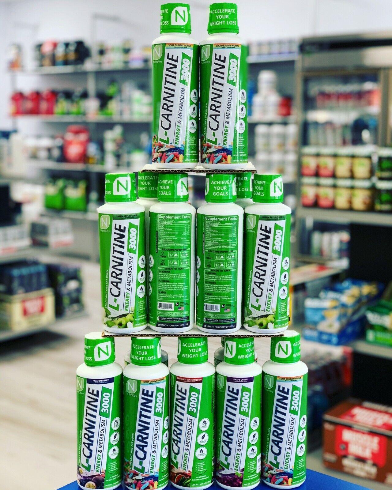 Nutrakey L-CARNITINE Liquid 3000 Fat Burner Energy / Metabolism Booster 16 oz