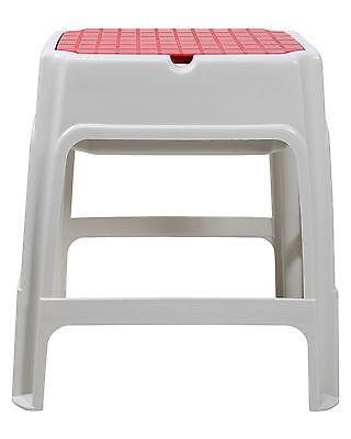 Hocker Sitzhocker Badhocker Kunststoffhocker stapelbar mit Staufach rot-weiß NEU