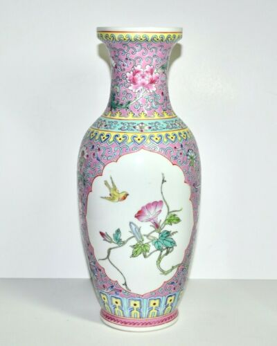 """Vintage Chinese Porcelain Famille Rose Floral With Birds In Pink 10"""" Tall Vase"""