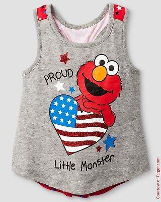 Summer Sesame Street Elmo Proud Lil Monster Infant/Toddler Girls Tank Top 12m-5T](Elmo Girl)