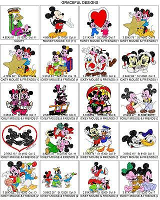 675+ MICKEY MOUSE & FRIENDS EMBROIDERY MACHINE DESIGN COLLECTION PES ON CD