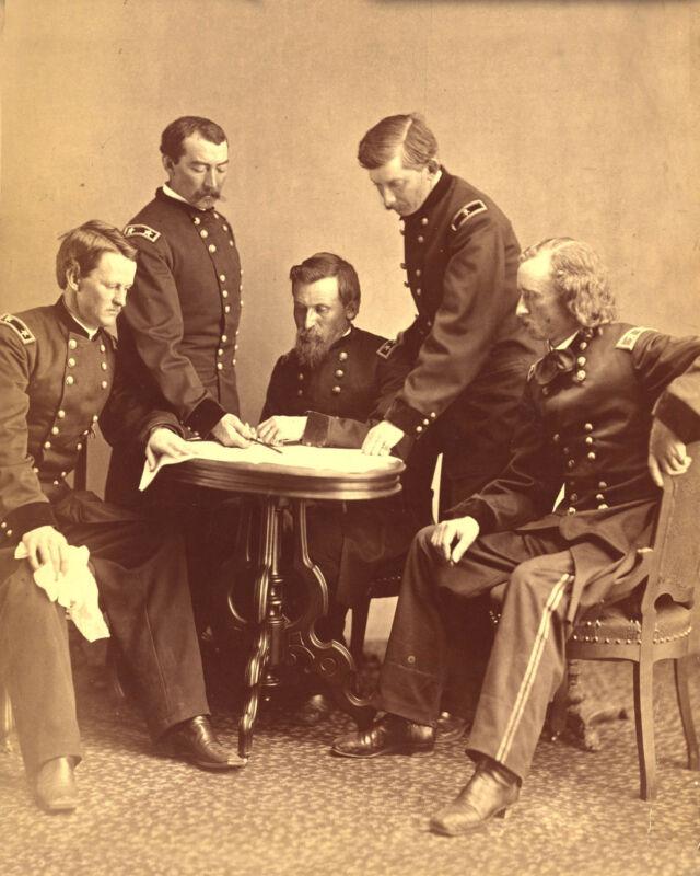 George A. Custer-Philip Sheridan-George Crook-Civil War Generals Photo 1865