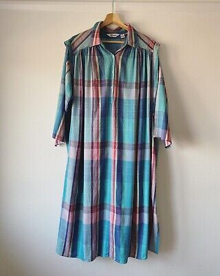 Vintage 1980s Checked Cotton Kaftan Smock Dress By Phool One Size