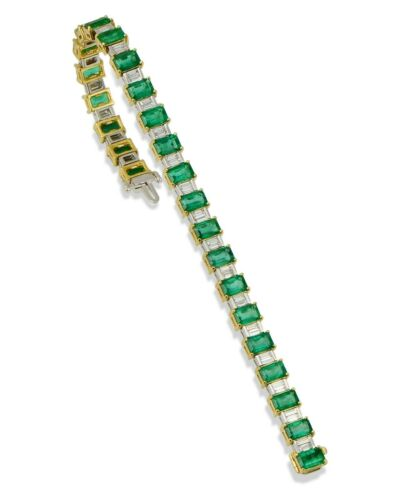 "14 Karat Yellow Gold Over Tennis 7.25"" Bracelet With Emerald Cut And Diamonds"