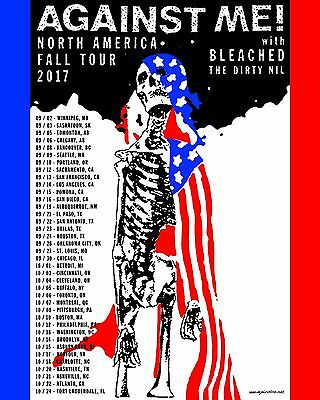 "AGAINST ME! ""NORTH AMERICA FALL TOUR 2017"" CONCERT POSTER - Punk Rock Music"