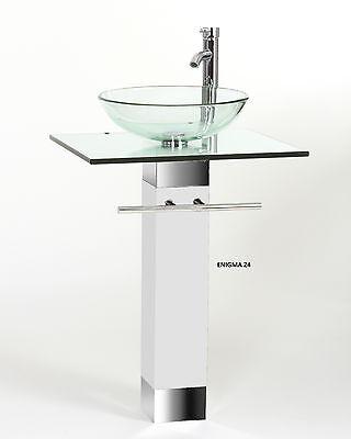 Modern Bathroom Vanities Pedestal Vessel Glass Furniture Sink W Bath Faucet