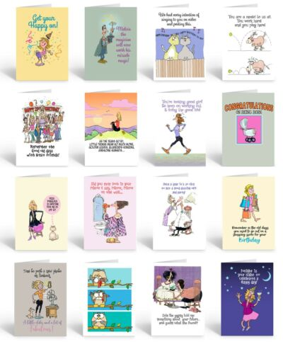 Assorted Funny Birthday Cards - 16 Boxed Cards and Envelopes - 735