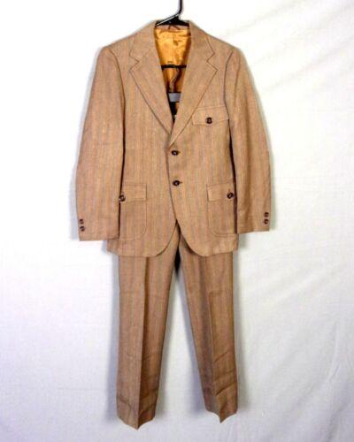 vtg 60s Brent Prep Youth Size 2 Pc Striped Herringbone Suit Mod Rayon Medium 12