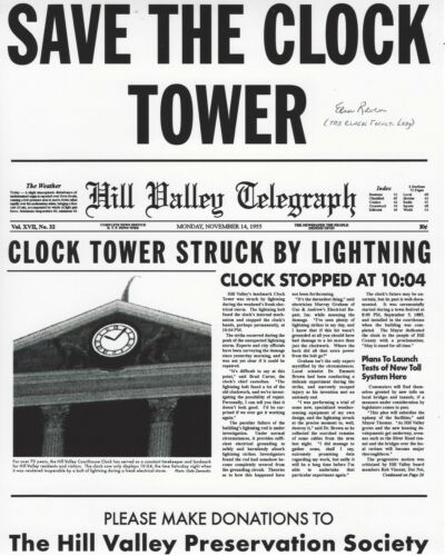 ELSA RAVEN SIGNED BACK TO THE FUTURE 8x10 MOVIE PHOTO w/COA THE CLOCK TOWER LADY