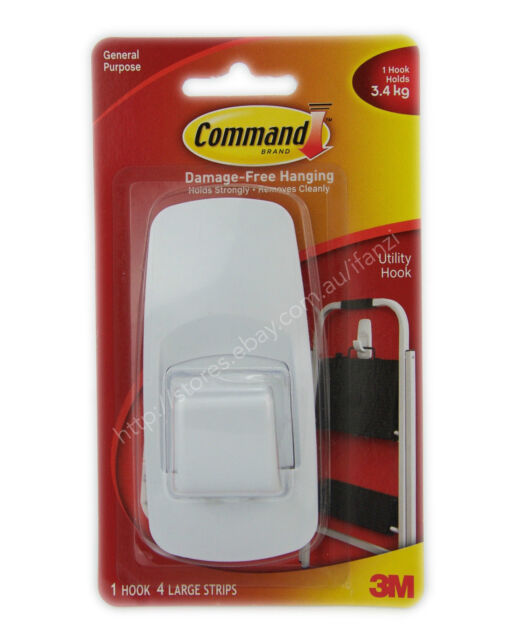 3M COMMAND Damage-Free Hanging Jumbo Hook 1 Hooks 4 Strips 3.4Kg 17004ANZ