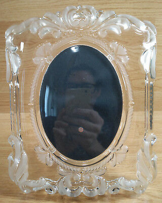 Frosted Glass Princess Picture Frame 5x7 Oval Pic Floral Wedding Clear 9x11 Etch