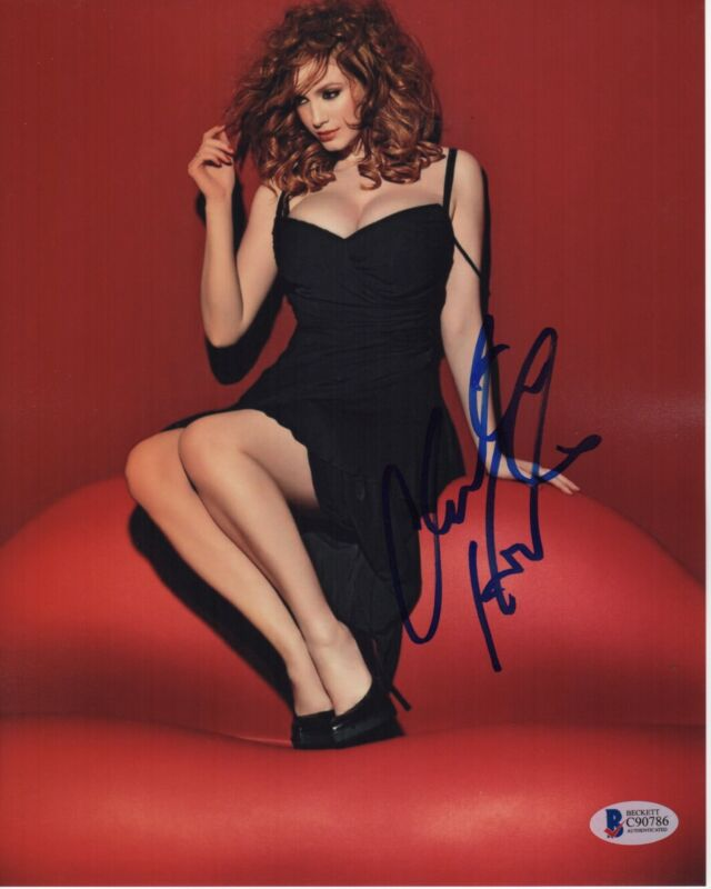 CHRISTINA HENDRICKS SIGNED PHOTO 8X10 AUTOGRAPH SEXY LEGS FEET MAD MEN BAS PSA 1