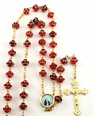 "NEW LOVELY MADE IN ITALY RUBY RED & GOLD ""MEDIEVAL"" GLASS BEAD ROSARY"