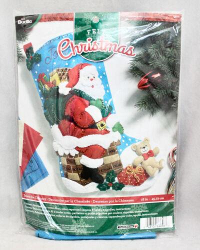 "New PLAID BUCILLA Santa Down The Chimney 18"" Felt Christmas Stocking 86656"