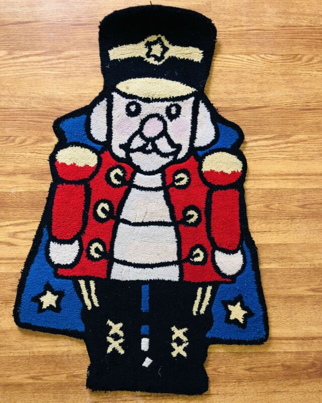 Vintage Hand Sheared Rug Toy Solider Accent Rug