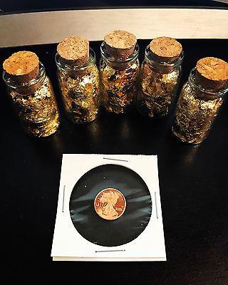 5 JUMBO Bottles GOLD Leaf Flake .999 + 1 g .999 Pure Copper Coin - Best Deal!