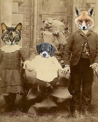 Animal Family Art Print 8 x 10 - Altered Art - Victorian Photography - Cat Dog  Animal Photography Print