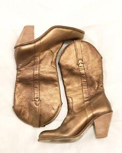 Women's size 8 Metallic bronze leather cowboy boots