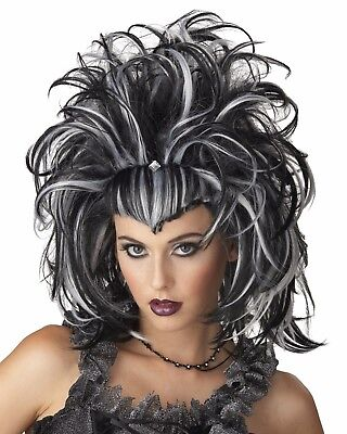 Morris Costumes Evil Sorceress Black White Womens Halloween Costume Wig 177153