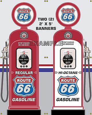 MOBILGAS TOKHEIM GAS PUMP STATION CLOCKFACE BANNER SIGN MURAL GARAGE ART 2' X 6'