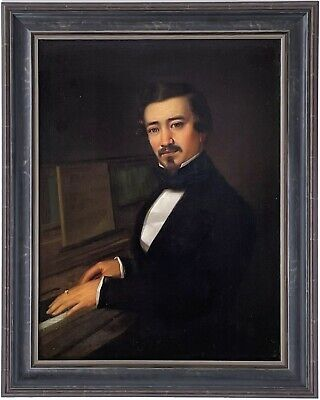 The Pianist Antique Oil Painting 19th Century Northern European School