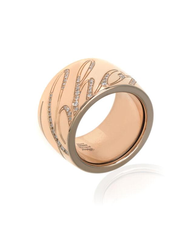 Chopard 18k Rose Gold Diamond Chopardissimo Ring Sz 7.25 826582-5211 MSRP $9380