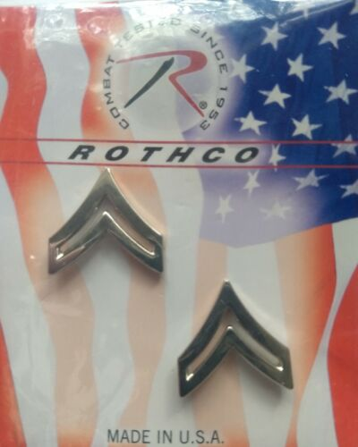 Rothco Corporal Polished Insignia - Silver