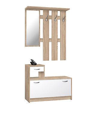 RUDOLF - Guardaroba con specchio, 3 ganci appendiabito e scarpiera