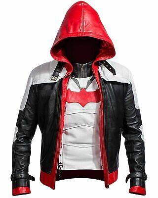 Rot Kapuze Lederjacke & Weste Batman Arkham Knight Spiel - Spieler Kostüm Weste