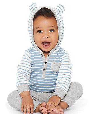 Carters 6 9 12 Months Hooded Bodysuit & Pants Set Baby Boy Clothes