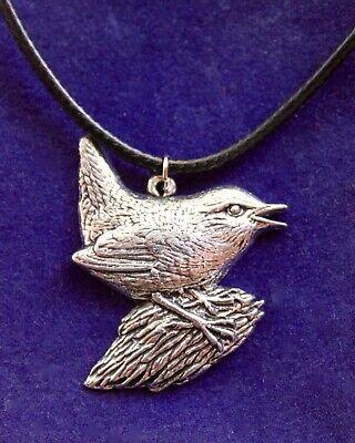 Wren Silver Pewter Pendant Necklace with Gift Pouch, bird jenny jennifer navy