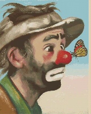 Clown with Butterfly Counted Cross Stitch Chart  No. 3-3