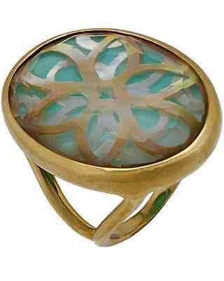 Ippolita Polished Rock Candy 18k Gold Quartz MoP & Turquoise Ring GR429ISOLA