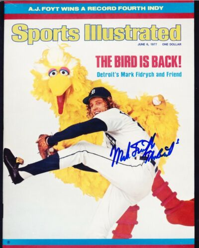 """MARK FIDRYCH RP SIGNED 8X10 DETROIT TIGERS """"THE BIRD"""" SI COVER"""