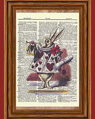 Alice in Wonderland White Rabbit Dictionary Art Print Book Page Mixed Media OOAK