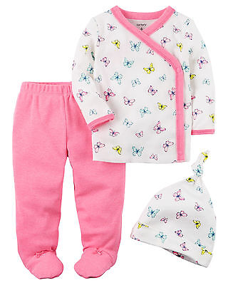 Carters Preemie 3-Piece Butterfly Cardigan Pants Hat Set Baby Girl Clothing