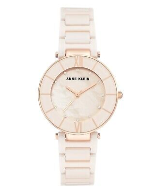 Anne Klein Women's 3266-LPRG Swarovski Crystal Accented Ceramic Bracelet Watch