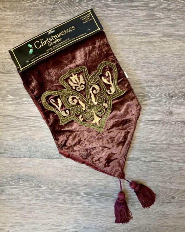 """The Christmas Shoppe 2008 Velvet Burgundy Tassel Table Runner NEW 72"""""""