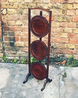 Antique Mahogany Folding Cake Stand