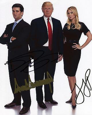 Donald Trump, Donald Trump Jr. & Ivanka Trump - Signed Autograph REPRINT