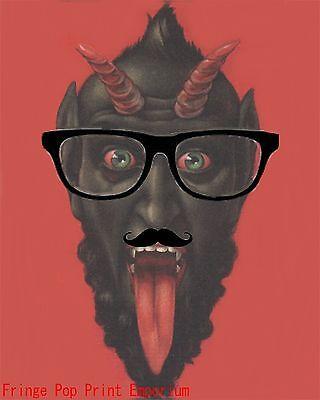 Hipster Krampus Art Print 8 x 10 - Altered art - Devil Satan With Mustache ](Devil Mustache)