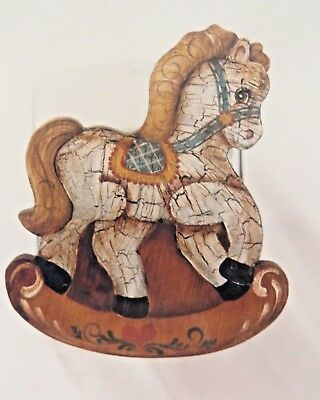ROSEMARY WEST 1982 ANTIQUE ROCKING HORSE COOKIE JAR LID TOLE PAINTING PATTERN